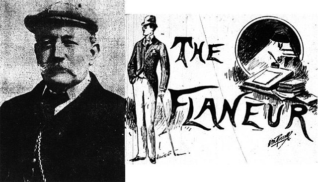 "Left: Photo of Henry Horace Wiltshire, the Mail and Empire, February 15, 1911  Right: header for ""The Flaneur,"" the Mail, January 12, 1895"