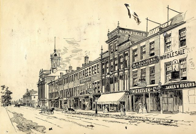 South side of King Street East, looking east from Church Street, ca  1872  Sketch (1894) by William James Thomson from the Toronto Public Library Digital Collection
