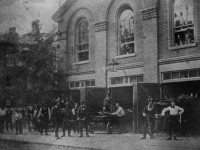 Firemen at the fire hall (Engine House, No. 2) on Court Street, near Church Street, 1860. From the Toronto Public Library Digital Collection.