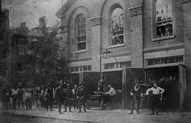 Firemen at the fire hall (Engine House, No  2) on Court Street, near Church Street, 1860  From the Toronto Public Library Digital Collection