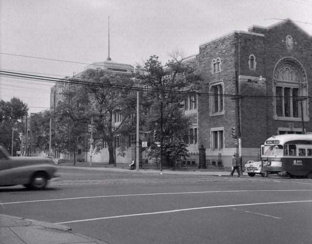 Royal Ontario Museum, looking south from Bloor Street West and Avenue Road, 1957  From the Toronto Public Library Digital Collection