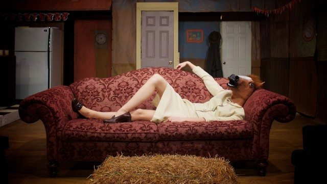 A horse, of course; Samantha Madely in Human Furniture at Storefront Theatre  Photo by John Gundy