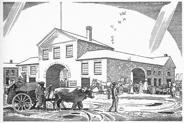Illustration of St  Lawrence Market north complex (1831 1849) by Charles Comfort, Toronto's 100 Years by Jesse Edgar Middleton (Toronto: City of Toronto, 1934)