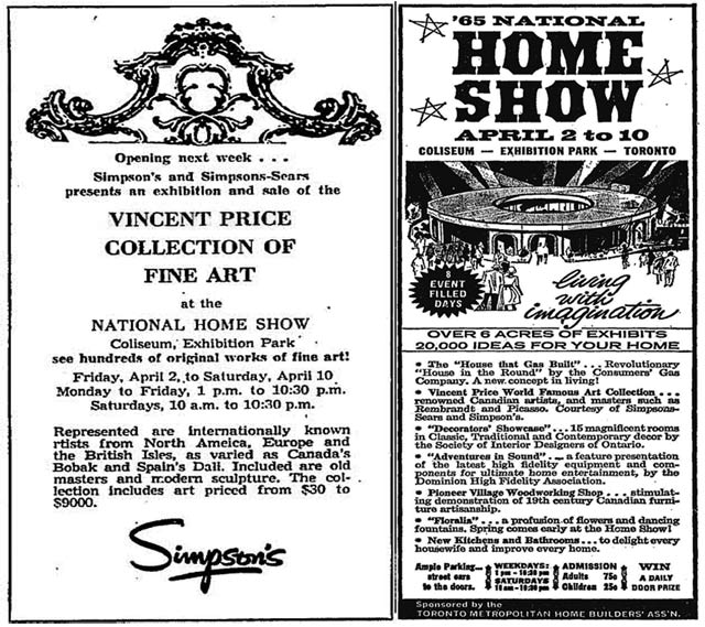 Advertisements, (left) the Globe and Mail, March 27, 1965, (right) the Globe and Mail, March 20, 1965