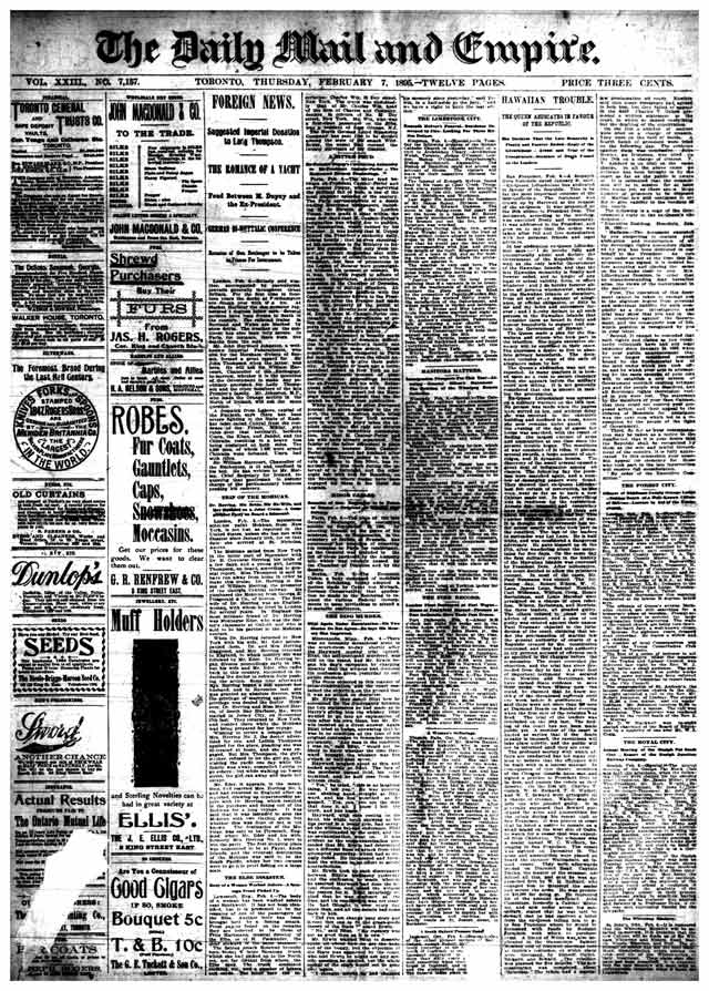 Front page of the first edition of the Mail and Empire, February 7, 1895