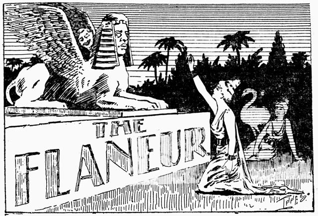 """A fancy logo for """"The Flaneur,"""" typical of those appearing in the paper at the time  The Mail and Empire, October 2, 1897"""