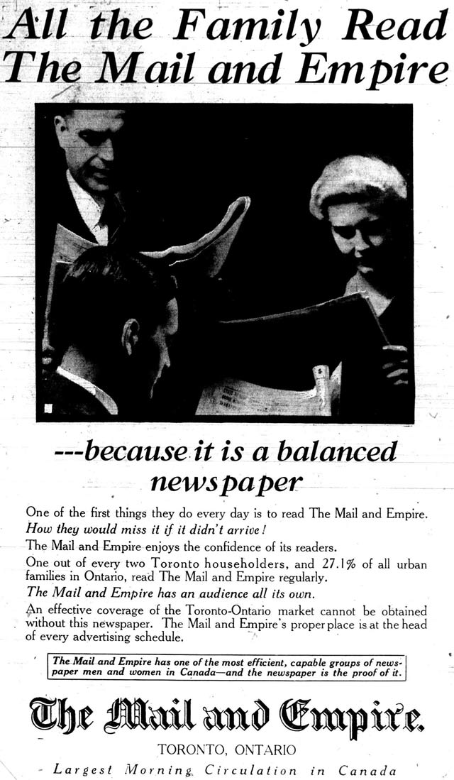 Advertisement, the Mail and Empire, January 2, 1932