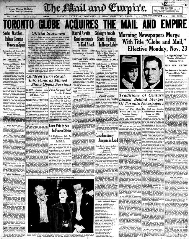 Front page, the Mail and Empire, November 19, 1936