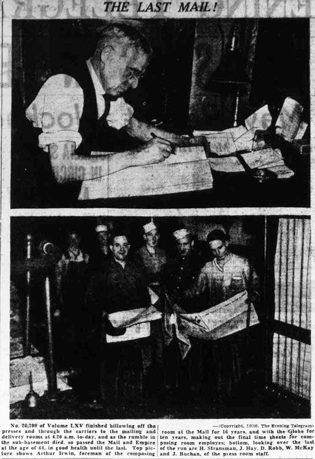 Preparing the final edition of the Mail and Empire  The Telegram, November 21, 1936