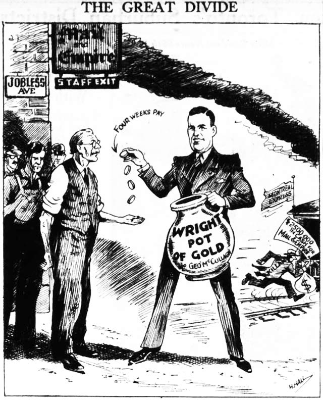 Cartoon depicting George McCullagh and Izaak Walton Killam, the Telegram, November 26, 1936