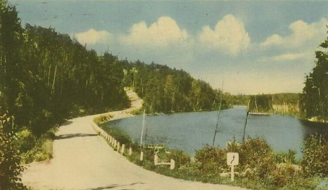 Postcard of the Ferguson Highway through Temagami in summer, before 1940  From Wikimedia Commons
