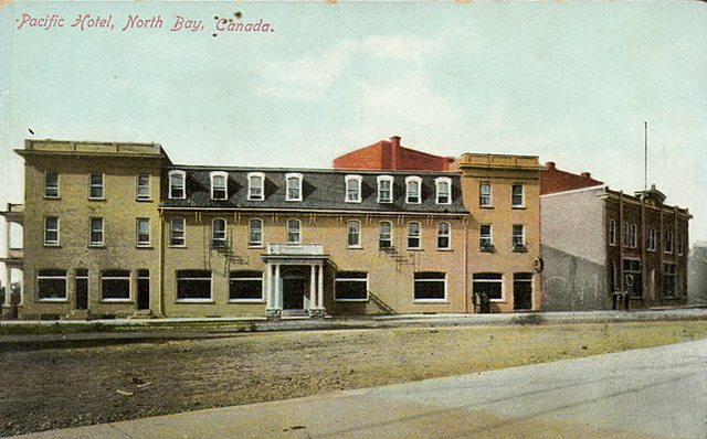 Postcard of the Pacific Hotel in North Bay, 1910  From the Toronto Public Library Digital Collection