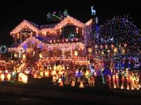 "This is apparently what contestants on ""The Great Christmas Light Fight"" strive to achieve. Someone actually TRIED to make this. You may commence weeping for all humanity."