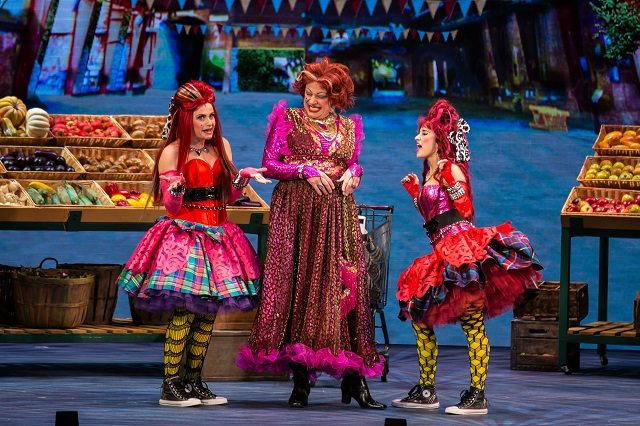 Ross Petty's Revolta, centre, schemes with wicked step sisters Cleopatra Williams, left, and Bryn McAuley in Cinderella: The Gags to Riches Family Musical  Photo by Racheal McCaig Photography