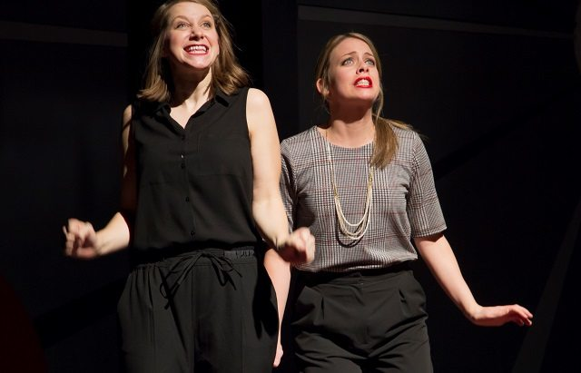 Leigh Cameron, left, and Kirsten Rasmussen take on the season in The Second City's Holidazed and Confused  Photo by Paul Aihoshi