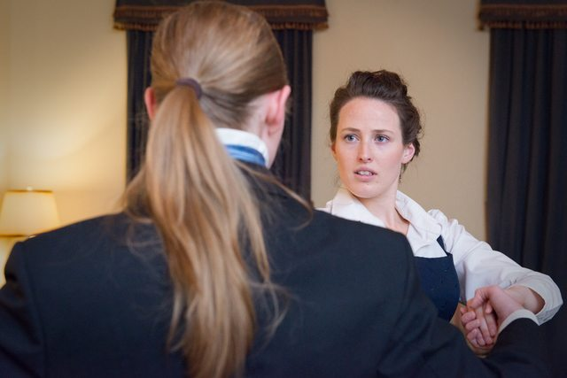 Kate Werneburg and Hallie Burt (at right) bring Elizabeth Darcy back to Campbell House  Photo by Dahlia Katz