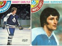 1978/79 O-Pee-Chee hockey cards of Randy Carlyle and Dave Burrows.