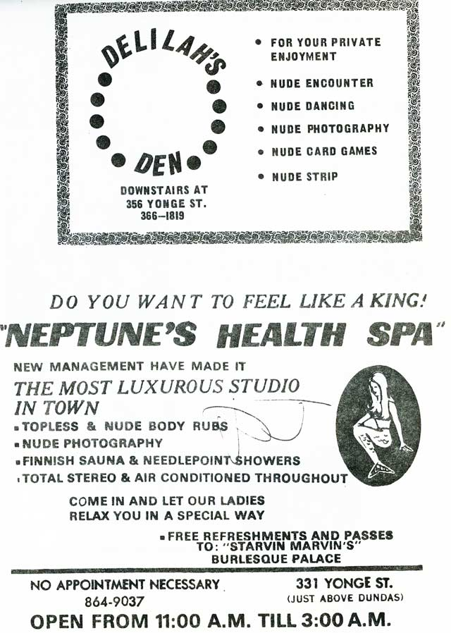 Samples of flyers handed out by body rub parlours at the Yonge Street Mall, 1974  The Yonge Street Mall: A Feasibility Study (Toronto: The City People Community Planning and Research Inc , 1974)