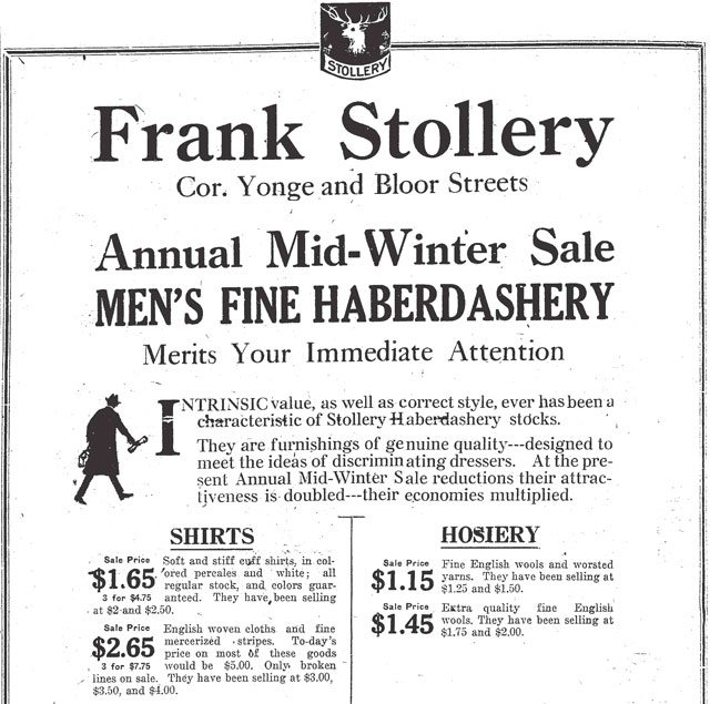 Advertisement, Toronto Star, January 23, 1919