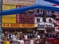 A & A Records and Steele's Tavern, as seen from the Yonge Street and Elm Street intersection, during a street festival in August 1971. Photo from the City of Toronto Archives, Fonds 1526, File 5, Item 13.