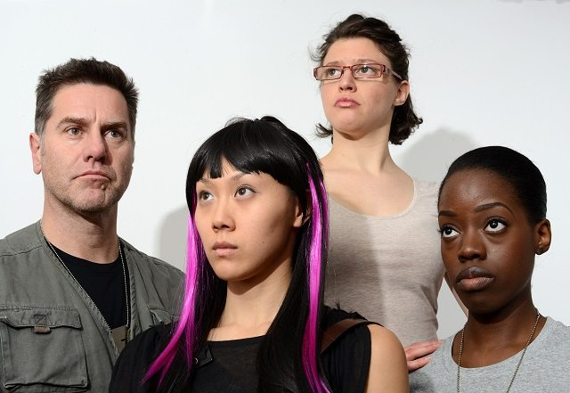 DINK, starring (left to right) David Keeley, Jasmine Chen, Lise Cormier, and Andrea Brown, is the most ambitious and controversial play at this year's Next Stage Theatre Festival  Photo by Guntar Kravis