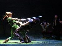 Izzie Steele as Marion/Martin fights a duel with Gabriel Ebert's Robin in The Heart of Robin Hood. Photo by Joan Marcus.