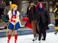 Sailor Moon, Wolverine, and Mystique have fun on the ice. There is no word on whether Mystique is a candidate for Ward 7.