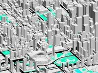 A 3D model of Toronto, from the City's Open Data files. Courtesy of the City of Toronto.