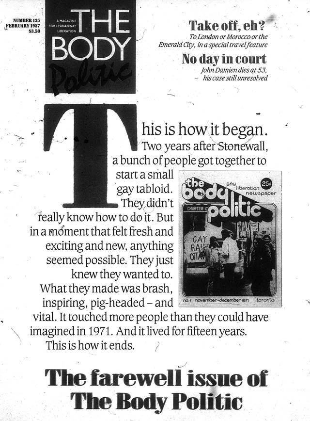 The final cover of The Body Politic (February 1987), depicting the first (November December 1971)