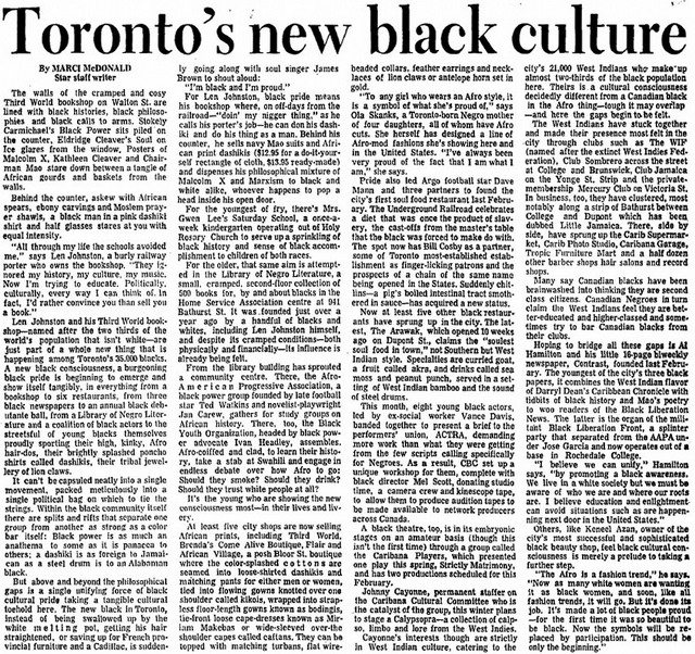 Article from the Toronto Star (August 23, 1969) featuring an interview with Leonard Johnston