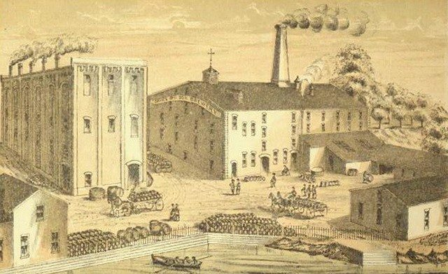 Thomas Davies & Brothers, Maltsters (sic) Brewers & Bottlers, located at Queen Street East and River Street, as depicted in Illustrated Toronto (1877).