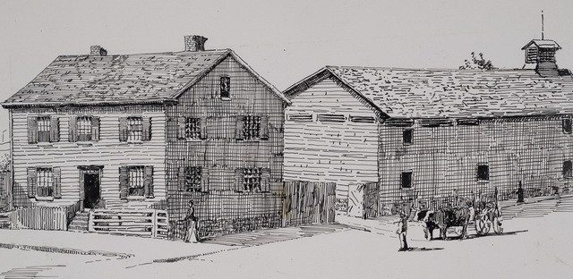 Doel's residence and brewery on the northwest corner of Adelaide and Bay streets as it appeared in the 1840s  Sketch drawn by Owen Staples in 1888  From the Toronto Public Library's Digital Collection   John Doel's brewery, located behind his residence, burned down in 1847  The Methodist Church, of which Doel was a member, used the brewer's philanthropic donations to build the city's first Temperance Hall among other endeavours