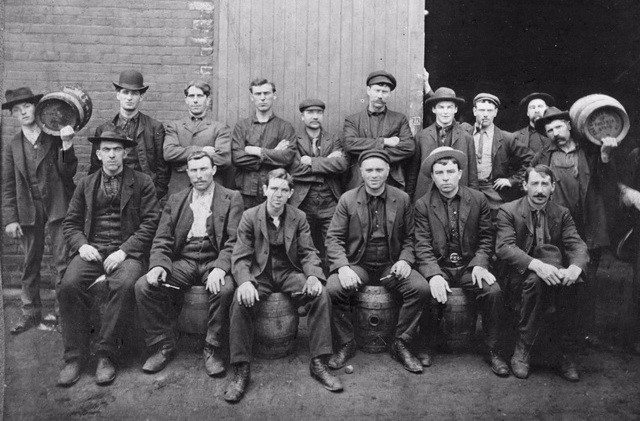 Staff from the O'Keefe Brewery Company, located at the southwest corner of Gould and Victoria streets, 1890s  From the Toronto Public Library's Digital Collection