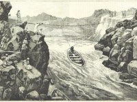 Illustration of whale boats being hauled through the Second Cataract from Gordon and the Mahdi (1885). From the British Library.