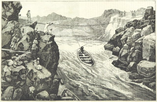 Illustration of whale boats being hauled through the Second Cataract from Gordon and the Mahdi (1885)  From the British Library