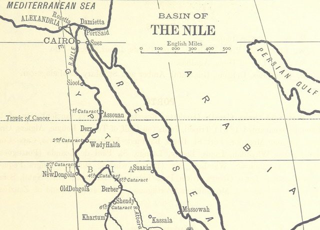 Detail from map of the basin of the Nile River from Outlines of Geography (1893)  From the British Library