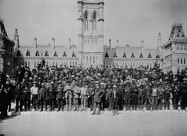 Canadian voyageurs contingent in front of Parliament Buildings in Ottawa, 1884  Photo by James Ashfield, Library and Archives Canada (C 002877)