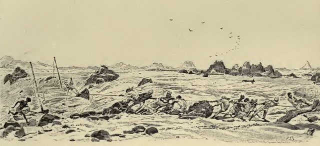 Hauling a boat at Dal  Illustration from Sir William F  Butler, The Campaign of the Cataracts (1887)