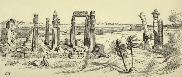 Boats passing the ruins of the temple at Agoulai  Illustration from Sir William F  Butler, The Campaign of the Cataracts (1887)