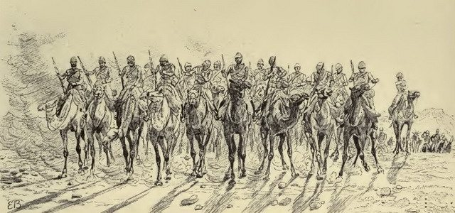 Departure of the Desert Column from Korti  Illustration from Sir William F  Butler, The Campaign of the Cataracts (1887)