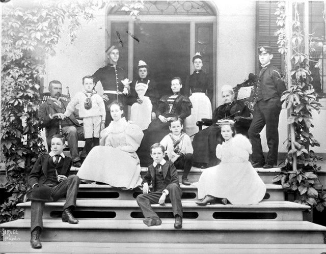 """Portrait of Frederick C  Denison and his family at his house, """"Rusholme,"""" at Dundas Street West and Rusholme Road, 1895, by Josiah Bruce  From the Toronto Public Library's Digital Collection"""