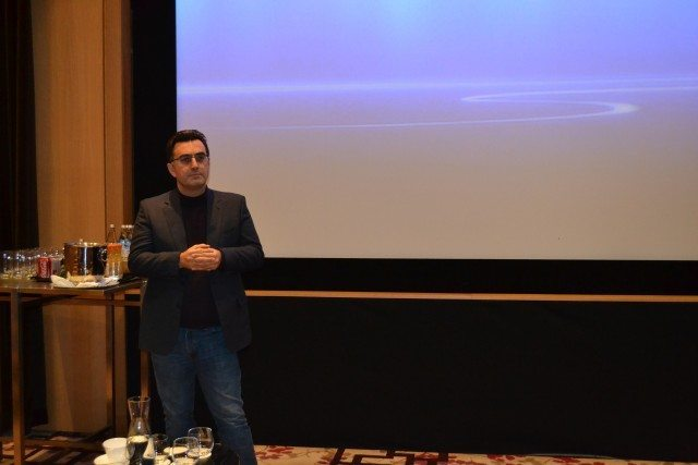 Journalist Maziar Bahari speaks to an audience at a screening of To Light A Candle