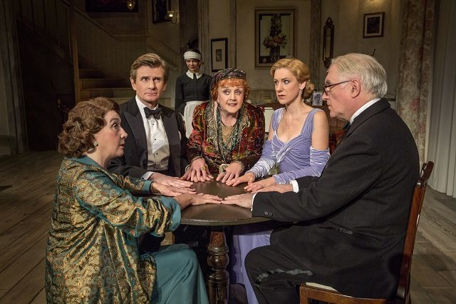 The cast of Blithe Spirit includes, left to right, Sandra Shipley, Charles Edwards, Susan Louise O'Connor, Angela Lansbury, Charlotte Parry, and Simon Jones   Photo by Joan Marcus