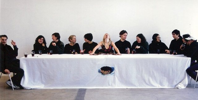 Irish performance artist Amanda Coogan (centre) celebrates communication without sound (and the glories of chocolate cake) with Silent Dinner  Photo courtesy of SummerWorks