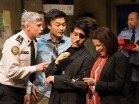 Soulpepper Theatre's Accidental Death of an Anarchist stars, left to right, Rick Roberts, Ins Choi, Kawa Ada, Raquel Duffy and Paul Sun-Hyung Lee. Photo by Cylla von Tiedemann.