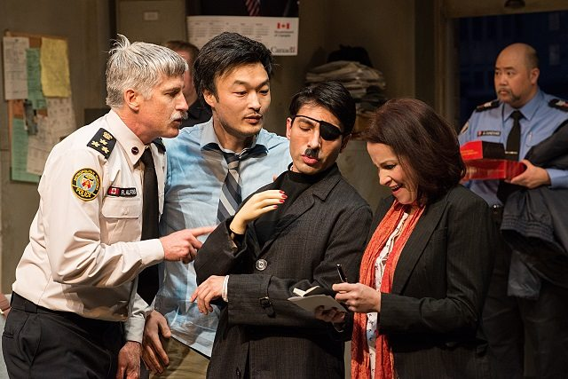 Soulpepper Theatre's Accidental Death of an Anarchist stars, left to right, Rick Roberts, Ins Choi, Kawa Ada, Raquel Duffy and Paul Sun Hyung Lee  Photo by Cylla von Tiedemann