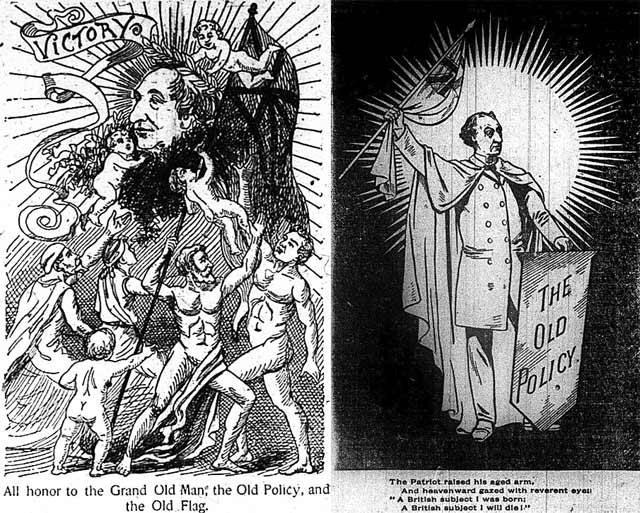 Left: cartoon, the News, March 6, 1891  Right: cartoon, the World, March 5, 1891