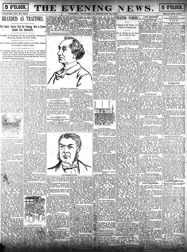 Front page, the News, February 18, 1891