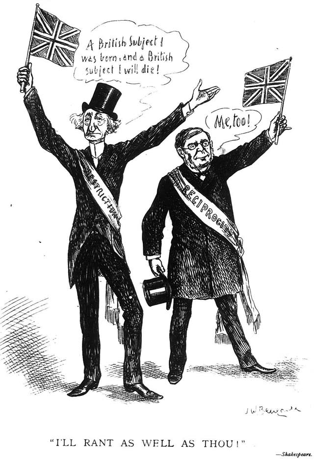 Cartoon by J W  Bengough depicting John A  Macdonald and Oliver Mowat  Grip, March 7, 1891