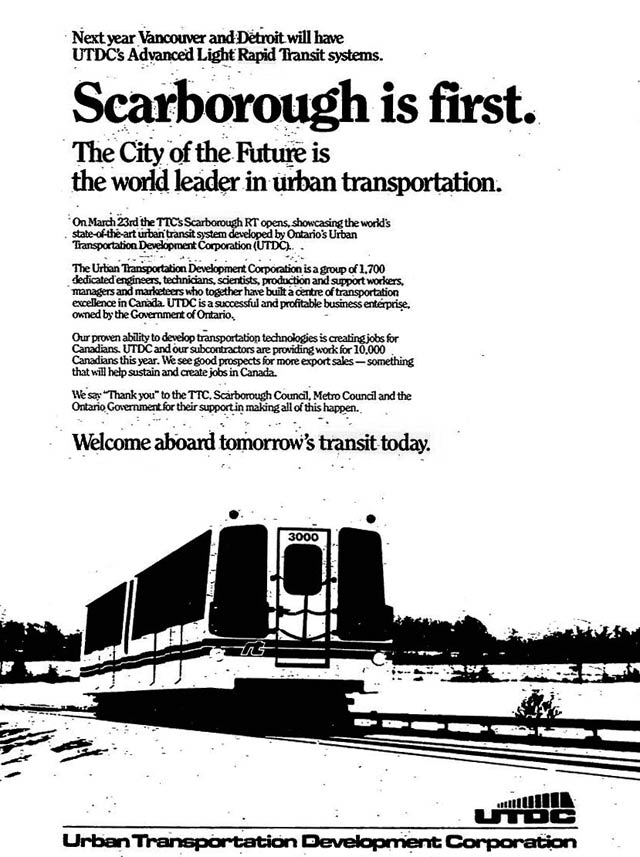 Source: Toronto Star, March 19, 1985  The forthcoming systems elsewhere were Vancouver's SkyTrain (opened December 1985) and the Detroit People Mover (opened July 1987)